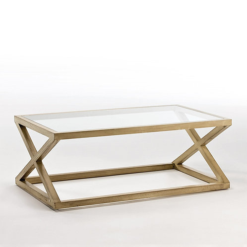 Equis Coffee Table/Rect - White Veiled Wood/Glass