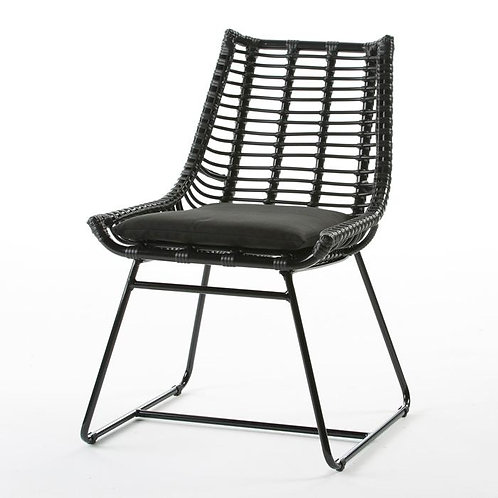 Wendy Outdoor Chair - Black Synthetic Wicker/Metal