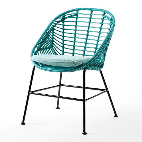 Amelia Outdoor Chair - Turquoise Synthetic Wicker/Metal