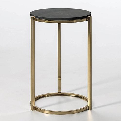 Troy Side Table - Black Marble/Golden Metal