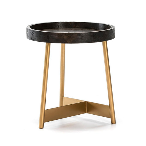 Miranda Side Table - Dark Brown Wood/Golden Metal