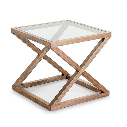 Equis Side Table - Natural Veiled Wood/Glass