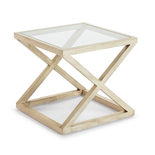 Equis Side Table - White Veiled Wood/Glass