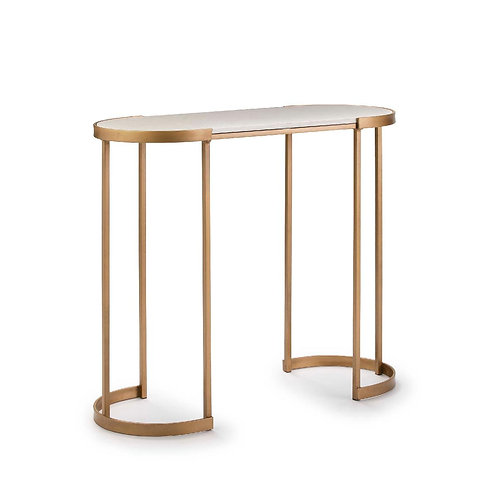 Elena Console - White Marble/Golden Metal