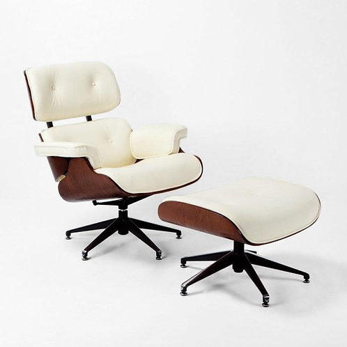 Montclair Armchair & Footrest - Cream Leather/Brown Wood