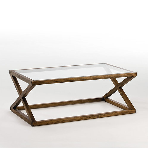 Equis Coffee Table/Rect - Natural Veiled Wood/Glass