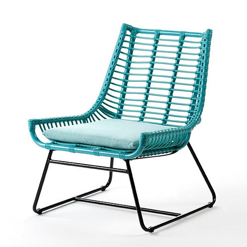 Corrine Outdoor Chair - Turquoise Synthetic Wicker/Metal