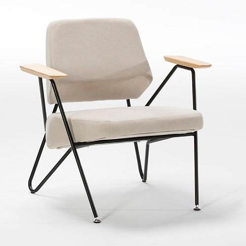 Sadie Armchair - Beige Fabric/Black Metal