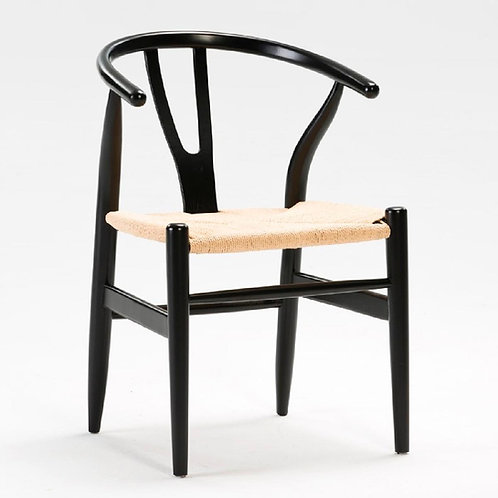 Lilly Dining Chair - Natural Rattan/Black Wood