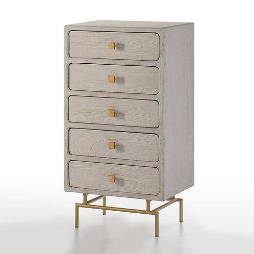 Harper Tall Dresser - White Wood/Golden Metal