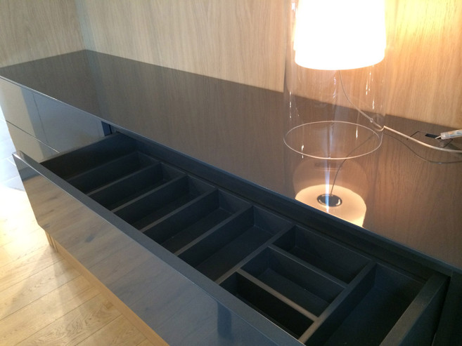 Custom drawer partitions for storing table linens, silverware and other dining items