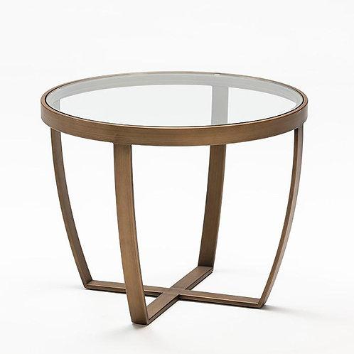 Harrison Side Table - Glass/Bronze Metal