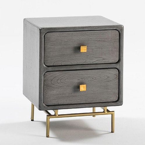 Harper Nightstand - Grey Wood/Golden Metal