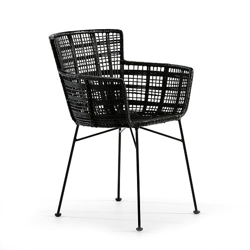 Mia Dining Chair - Black Wicker/Metal
