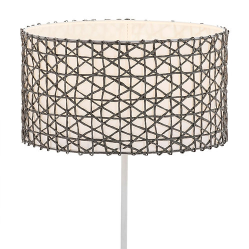 Minerva Lampshade - White Paper/Grey Synthetic Fiber