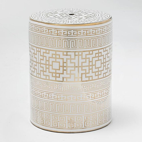 Meredith Side Table/Stool - White/Golden Ceramic
