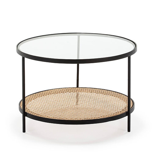 Marley Coffee Table - Glass/Rattan/Black Metal