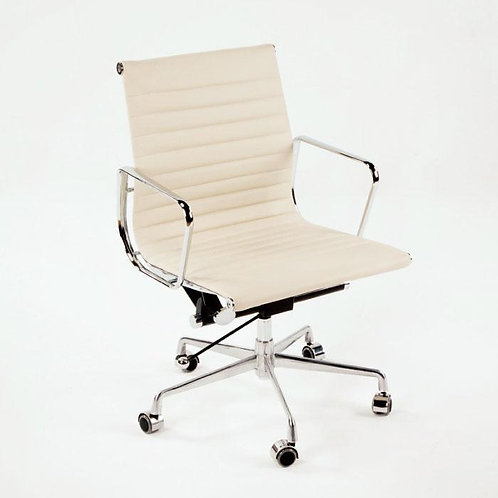 Anson Desk Chair - White Leather/Chrome
