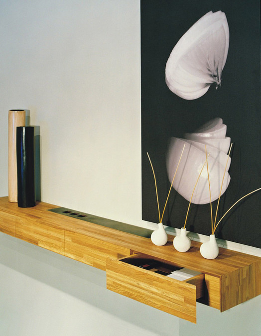 Custom Decorative Shelving with hidden drawers
