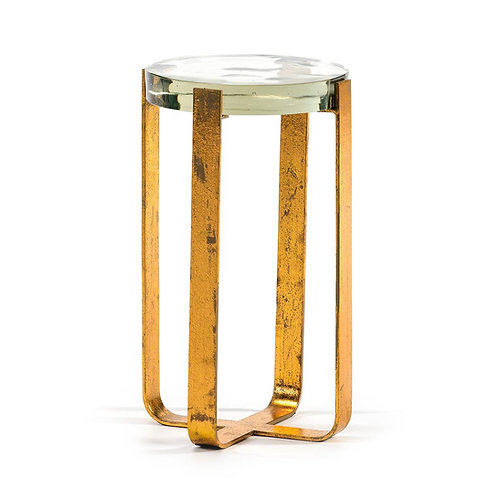 Kinsley Side Table - Golden Metal/Glass