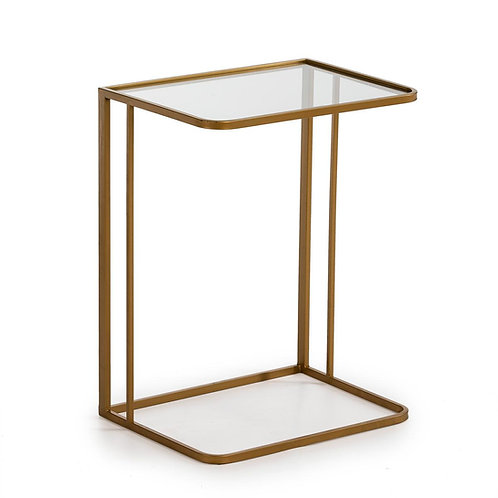 Axis Side Table - Golden Metal/Glass
