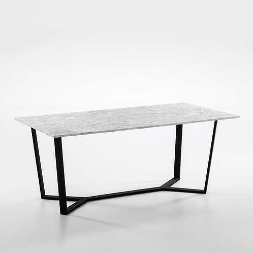 Emma Dining Table - White Marble/Black Metal