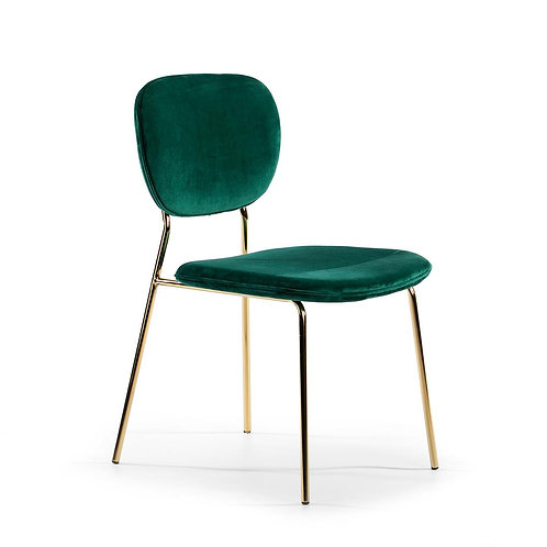 Bel Air Dining Chair w/o arms - Green Fabric/Golden Metal