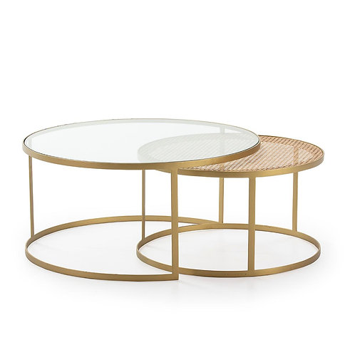 Iris Coffee Table Med (Set of 2) - Glass/Rattan/Golden Metal