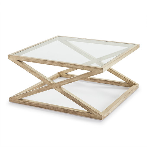 Equis Coffee Table/Sq - White Veiled Wood/Glass