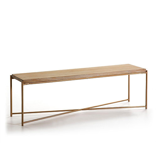 Lisa TV Unit - White Washed Wood/Golden Metal