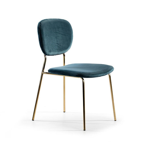 Bel Air Dining Chair w/o arms - Blue Fabric/Golden Metal
