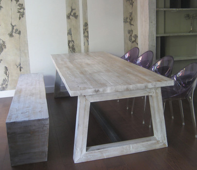 Custom dining table and bench seating