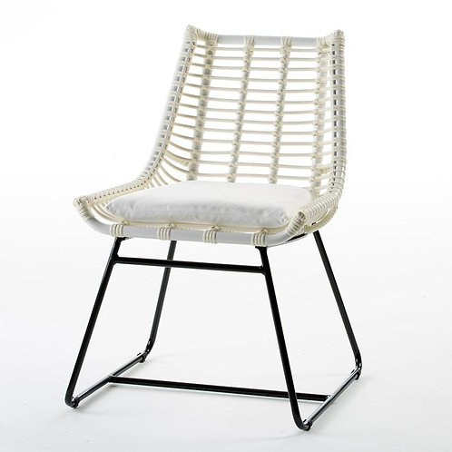 Wendy Outdoor Chair - White Synthetic Wicker/Metal