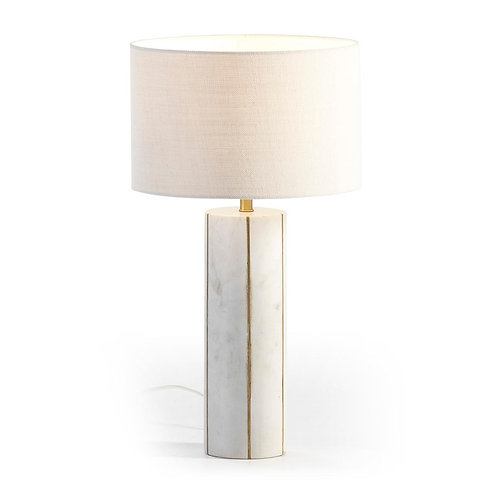 Ines Table Lamp - White Marble/Golden Metal