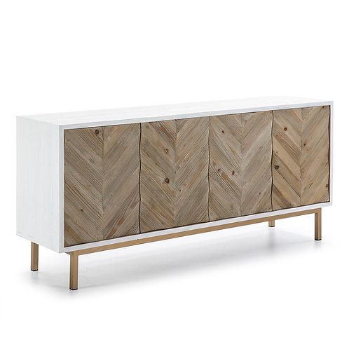 Freya Sideboard - White/Natural Wood/Golden Metal