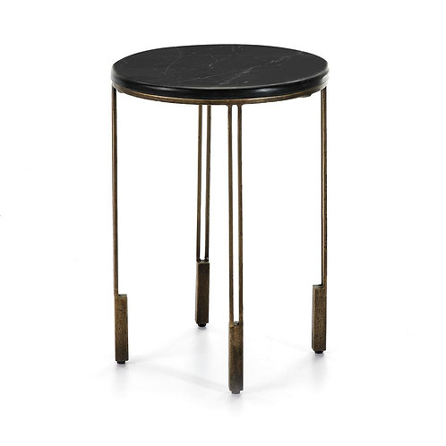 Ariana Side Table - Golden Metal/Black Stone