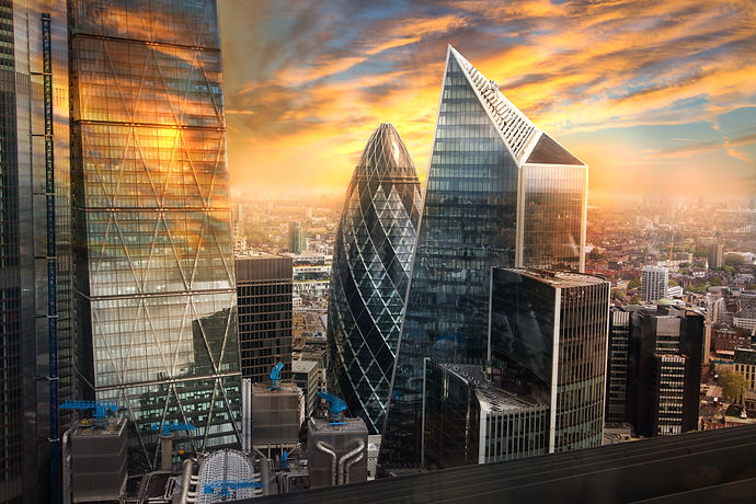 City of London, UK. Skyline view of the