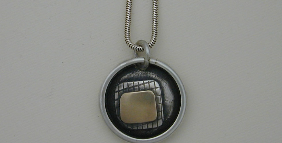 Pendant- Layered sterling silver and 14Kt gold