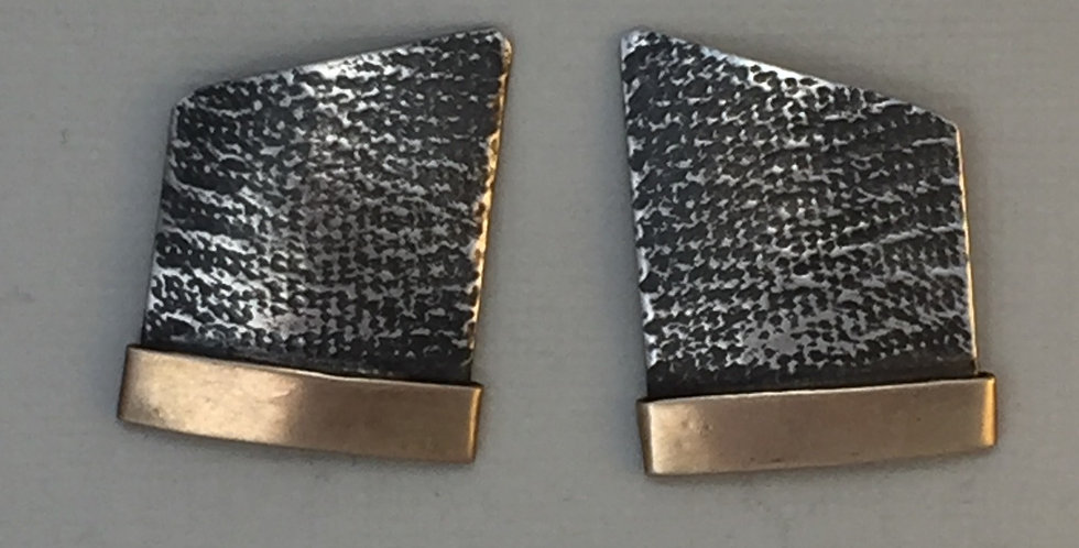 Slope Earrings with gold bar