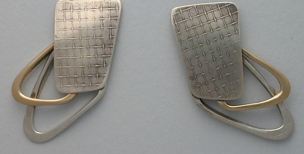 sterling and gold wing post earring