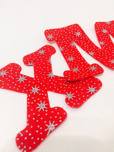 Felt Christmas Letters, Iron On Letters, Large Christmas Letters