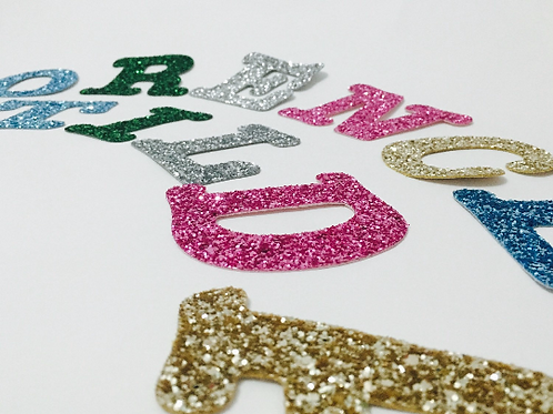 Large Fabric Letters, Large Glitter Alphabet, Glitter Stick on Letters, Sparkly