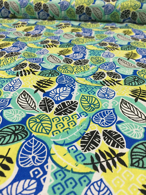 Electric Jungle Leaf Print 100% cotton fabric, blue yellow & green coordinating