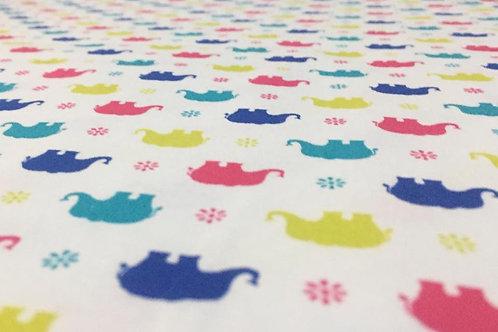 Multicoloured Elephant Fabric, 100% Cotton Elephant Design, Soft Cotton Fabric