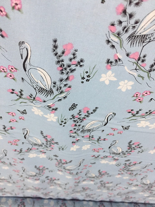 Eastern Botanicals fabric, 100% cotton, Dusty Blue and Pink