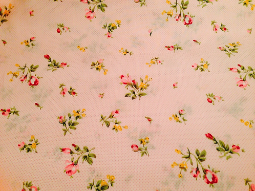 Floral Cotton Fabric, Nursery Fabric, Pink floral fabric, Shabby Chic Fabric, 'V