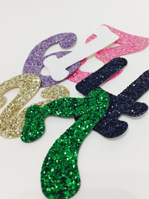 Glitter Fabric Numbers, Stick on Numbers, Glitter Stick on Numbers, Glitzy Numbe
