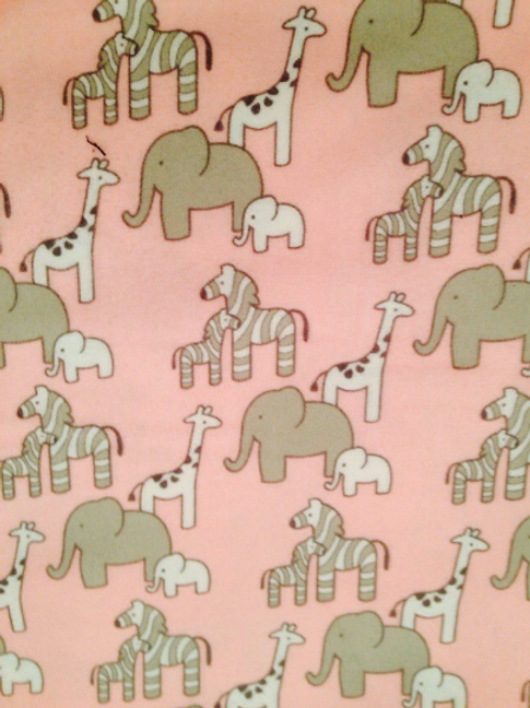 Elephant Flannel Fabric, Robert Kaufman Fabric, Pink Flannelette Fabric, Flannel