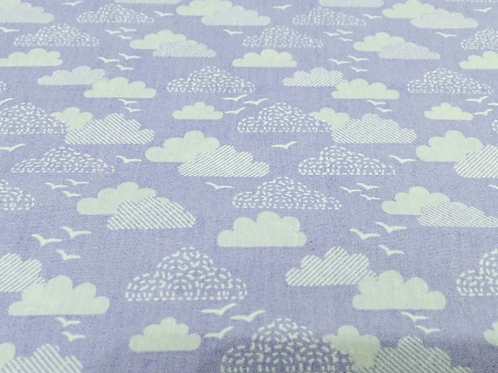 Lilac Clouds Fabric, Lilac Cotton Fabric, Cloud Fabric, Nursery Fabric, Bedding