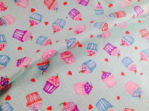 Cotton Cupcake Fabric | Cake Fabric | Cotton Fabric | Cupcake Fabric | Mint Fabr